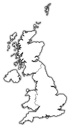 mapa politico: Mapa pol�tico de Reino Unido con los distintos pa�ses. Foto de archivo