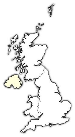 mapa politico: Mapa pol�tico de Reino Unido con los diversos pa�ses donde se resalta Irlanda del Norte. Foto de archivo