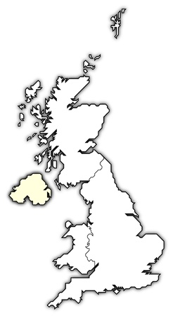 uk map: Political map of United Kingdom with the several countries where Northern Ireland is highlighted. Stock Photo