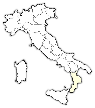 Political map of Italy with the several regions where Calabria is highlighted. photo
