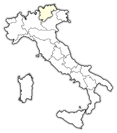 Political map of Italy with the several regions where Trentino-Alto Adige/S�dtirol is highlighted. Stock Photo - 10865093