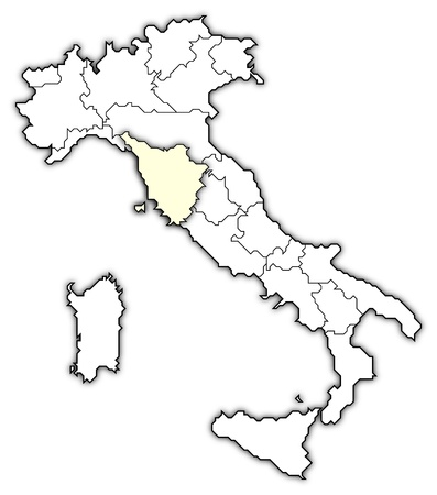 frontiers: Political map of Italy with the several regions where Tuscany is highlighted.