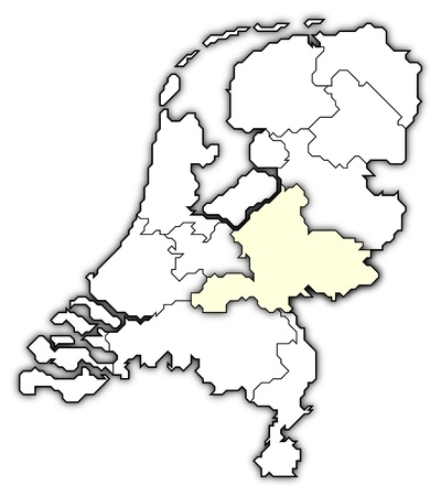 nederland: Political map of Netherlands with the several states where Gelderland is highlighted.