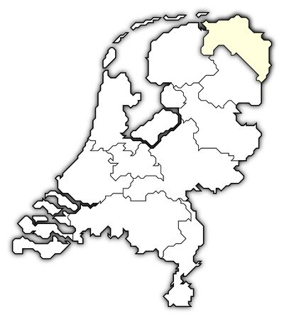 frontiers: Political map of Netherlands with the several states where Groningen is highlighted.