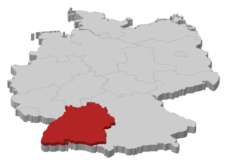 Political map of Germany with the several states where Baden-Württemberg is highlighted.