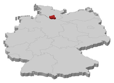 Political map of Germany with the several states where Hamburg is highlighted. Illustration