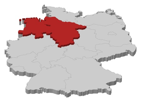 d mark: Political map of Germany with the several states where Lower Saxony is highlighted.