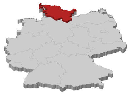 Political map of Germany with the several states where Schleswig-Holstein is highlighted.