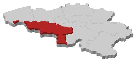 Political map of Belgium with the several states where Hainaut is highlighted. Illustration