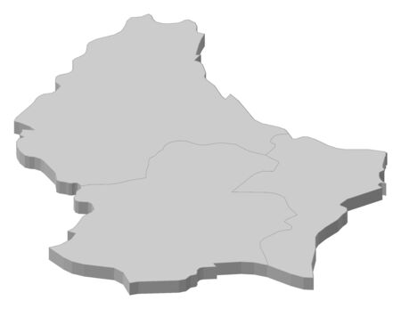 frontiers: Political map of Luxembourg with the several Districts. Illustration