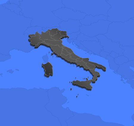 frontiers: Political map of Italy with the several regions.