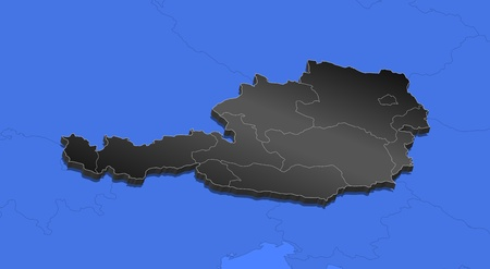 frontiers: Political map of Austria with the several states. Illustration