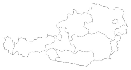 Political map of Austria with the several states.