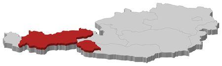 チロル: チロルが強調表示されますいくつかの州のオーストリアの政治地図