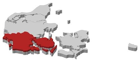 highlighted: Carta politica Danmark con le varie regioni in cui � evidenziato Danimarca meridionale.