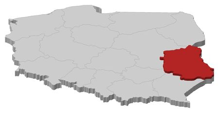 Political map of Poland with the several provinces (voivodships) where Lublin is highlighted. Illustration