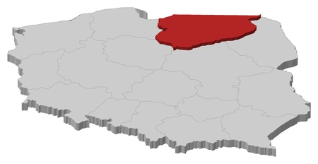 Political map of Poland with the several provinces (voivodships) where Warmian-Masurian is highlighted.