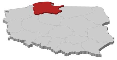 highlighted: Mappa politica della Polonia con le diverse province (voivodati), dove viene evidenziata Pomerania. Vettoriali
