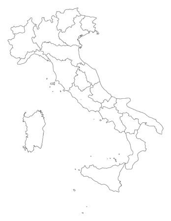 Political map of Italy with the several regions. Ilustração Vetorial