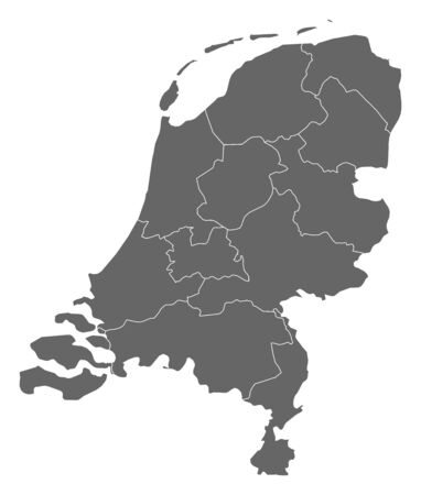frontiers: Political map of Netherlands with the several states.