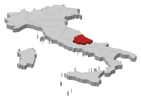 emphasize: Political map of Italy with the several regions where Abruzzo is highlighted.