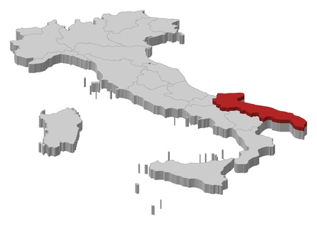 Political map of Italy with the several regions where Apulia is highlighted.