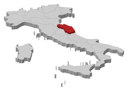 highlighted: La mappa politica d'Italia con le varie regioni in cui si evidenzia Marche.