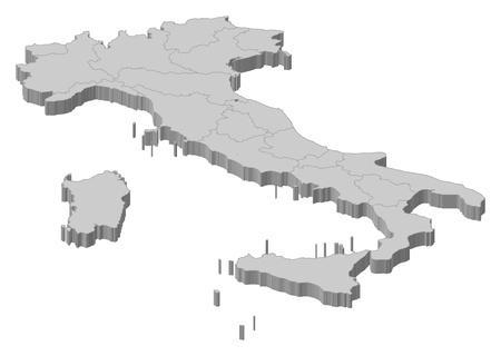 Politieke kaart van Italië met de verschillende regio's. Vector Illustratie