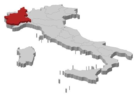 La mappa politica d'Italia con le varie regioni in cui si evidenzia Piemont.