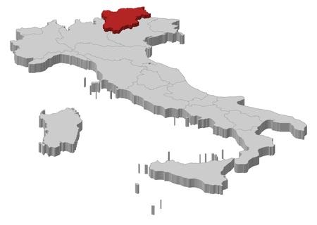チロル: トレンティーノ ・ アルト ・ アディジェS dtirol が強調表示されますいくつかの地域でイタリアの政治地図