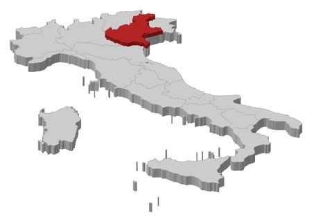 regions': Political map of Italy with the several regions where Veneto is highlighted. Illustration