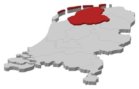 highlighted: La mappa politica dei Paesi Bassi con i diversi Stati in cui si evidenzia Friesland.