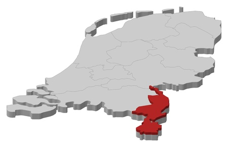 emphasize: Political map of Netherlands with the several states where Limburg is highlighted. Illustration
