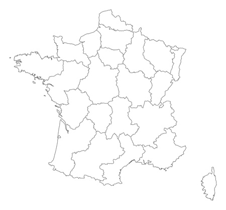 frontiers: Political map of France with the several regions.