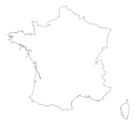 outline map: Political map of France with the several regions.