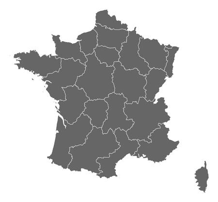 belgie: Politieke kaart van Frankrijk met de verschillende regio's.
