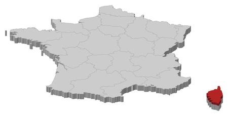 highlighted: Mappa politica della Francia con le varie regioni in cui � evidenziato Corsica.