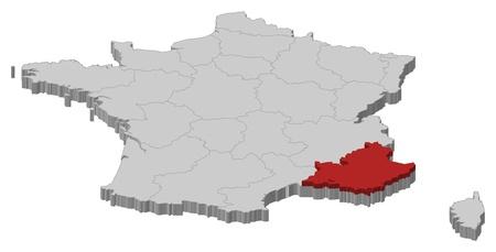 bundesl�nder: Politische Karte von Frankreich mit den Regionen, in denen mehrere Provence-Alpes-C�te d'Azur wird hervorgehoben.