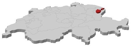 highlighted: Carta politica Swizerland con i diversi cantoni in cui si evidenzia Appenzello Interno.