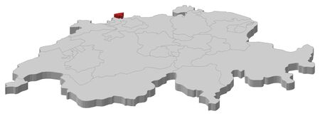 cantons: Political map of Swizerland with the several cantons where Basel-Stadt is highlighted.