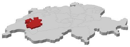 swizerland: Political map of Swizerland with the several cantons where Fribourg is highlighted. Illustration
