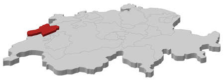 cantons: Political map of Switzerland with the several cantons where Neuchatel is highlighted.