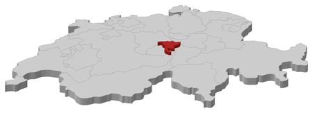 cantons: Political map of Swizerland with the several cantons where Nidwalden is highlighted.