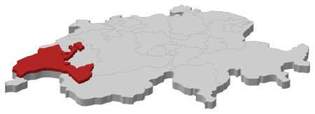 cantons: Political map of Swizerland with the several cantons where Vaud is highlighted. Illustration