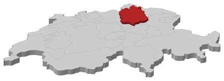 cantons: Political map of Swizerland with the several cantons where Zurich is highlighted.