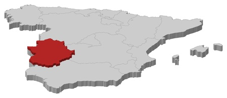 extremadura: Political map of Spain with the several regions where Extremadura is highlighted. Illustration