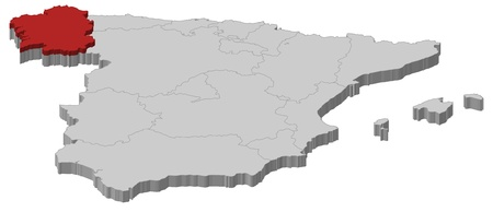 Political map of Spain with the several regions where Galicia is highlighted. Vector