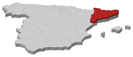 Political map of Spain with the several regions where Catalonia is highlighted.