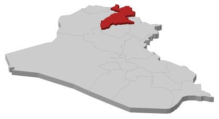 southwestern asia: Political map of Iraq with the several governorates where Arbil is highlighted.