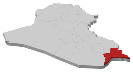 Political map of Iraq with the several governorates where Basra is highlighted. Illustration